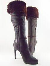 CASADEI 1774M Brown Leather Boots Pellame Artic Moro G175 Size EU39 US 8.5