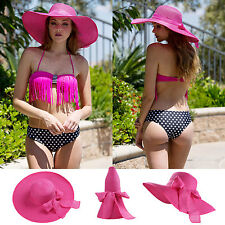 Fuchsia Foldable Women Wide Brim Straw Hat Floppy Summer Beach Sun Cap Visor