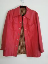 Leather Jacket Vintage 1970's Red Small