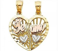 """Te Amo 14k Yellow Gold Heart I love you 2 Two Piece Pendant Charm 1.8 gr 0.6"""" in"""