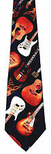 Electric & Acoustic Guitar Mens Neck Tie Music Necktie Musical Instrument New