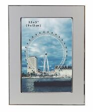 "5 x 3.5 "" Satin Silver Colour Brushed & Shiny Aluminium - Photo Picture Frame"