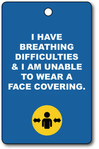 Exemption Cards and Lanyards - Breathing Difficulty Exempt from Face Cover