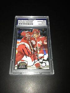 Nicklas Lidstrom Signed 1992-93 Stadium Club Red Wings Card PSA Slabbed 83427436