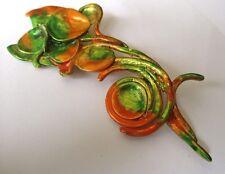 Grande broche bijou vintage rétro couleur or émail couleur vert orange 3488
