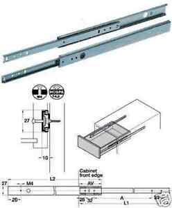 1 pair x Ball Bearing Cabinet Drawer Runner Pr 280mm draw depth for 27mm - 10110