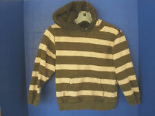 Gymboree~Green Striped HOODIE SWEATSHIRT~Sherpa Lined Hood~Boys Small (5-6)
