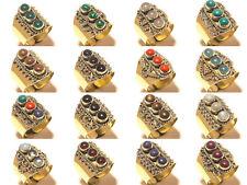 10pcs Ring Tibetan Silver Gemstone Jewellery Wholesale lot Mix Stone