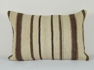 "Organic Reclaimed Kilim Lumbar Pillow, Tribal Couch Pillow, 16"" X 24"""