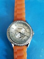 FOSSIL 10ATM ES-2526.ALL STAINLESS STEEL.ORANGE SILICONE BAND.