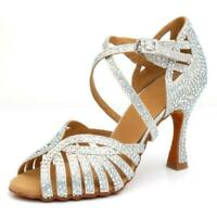Scarpe da Ballo argento latino donna sandali su misura tessuto salsa spuntati