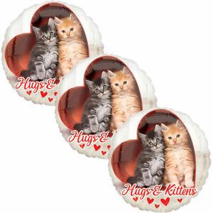 3 pc Avanti Hugs & Kittens Heart Happy Valentines Day Balloon Bouquet Kiss