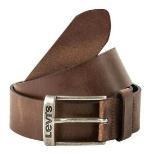 Levis Men's Belt Leather Belt With Buckle New Duncan Logo Smooth Leather