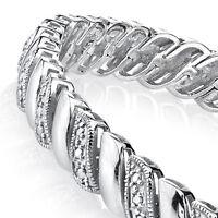 Sterling Silver Pave Set Link CZ Tennis Bracelet Wedding Bridal Gift Brides Maid