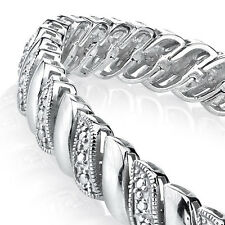 Sterling Silver Pave Set Link CZ Tennis Bracelet Wedding Bridal Gift Brides Maid