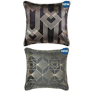 "Petra Art Charleston Foil Print Geometric Sparkle Foil Velvet 18"" Filled Cushion"