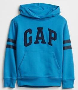 NEW NWT Boys GAP LOGO Hoodie Pullover Hooded Sweatshirt Breezy Blue Striped *5U