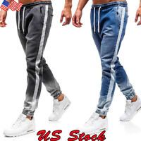 USA Mens Skinny Jeans Pants Casual Slim Fit Jogger Denim Sport Biker Trousers