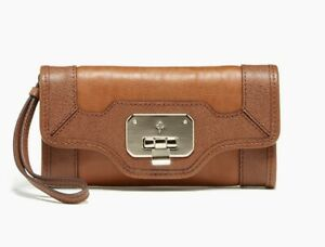 Cole Haan 245094 Womems Leather Vintage Valise II Isabelle Clutch Brown