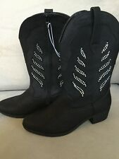 NWT Justice Black Cowboy Boots Zipper Size 5 Rhinestone Iridescent Stud Silver