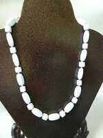 VINTAGE 18 WHITE LUCITE BEADED NECKLACE W. BEIGE SPACERS