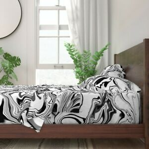 Black And White Painterly Abstract 100% Cotton Sateen Sheet Set by Spoonflower