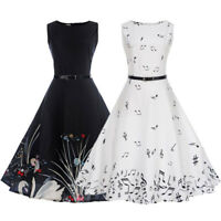 Women's Vintage Bodycon Sleeveless Casual Evening Party Prom Swing Skater Dress