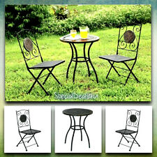 Bistro Patio Set Outdoor Furniture Vintage Table Chair Metal Round Chat Iron New