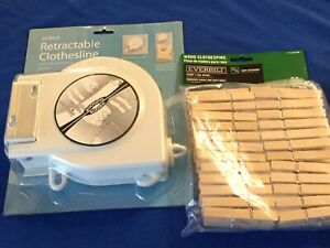 20 Foot Retractable Clothesline With 50 Pack Wood Clothespins Camp Camping Tent