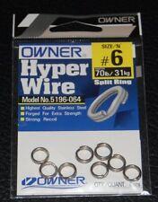 Owner 5196-064 Black Chrome Split Rings - Size 6 - 70lb Test Pack of 8