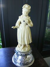 Antique Victorian Lady Sculpture with Metal Base and Semi Precious Stones