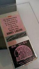 Quaint Wise Owl Older Vntg Pink Black Loose Matchbook Cover + Clear Frame