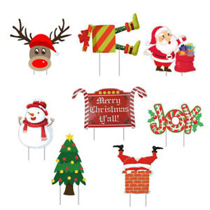 Christmas Yard Sign with Stakes Christmas Holiday Decorations Winter Yard Decjc