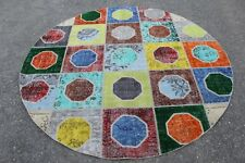 "FREE SHIPPING Vintage Handmade Turkish Patchwork Round Rug 6'7""x6'7"""