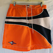 Men's Medium TOMMY HILFIGER Orange Blue White Board Shorts - Tie & Netting
