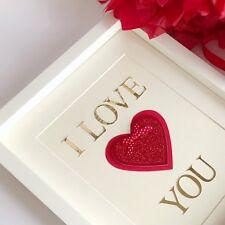 I Love you gift Red glitter heart gold font handmade spotty bow Framed Wife Girl