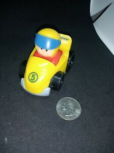 Mattel Little People Yellow Race Car With Driver preowned used loose