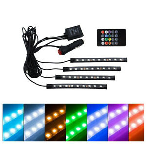 4x 9/12/18LED USB Decor Lamp RGB Car Interior Atmosphere Footwell Strip Light