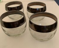 Set of 4 Midcentury Brandy Globe Glasses Metallic Trim Clear Glass Vintage Tumbl