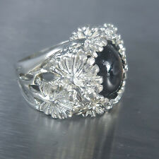 11cts Natural Black ray star sapphire 925 Silver floral ring