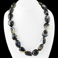 BEST AAA 950.00 CTS NATURAL FACETED RICH BLACK AGATE BEADS NECKLACE - BIG DEAL