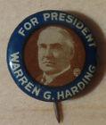 "1920 5/8"" Blue Background Warren G. Harding Presidential Campaign Button"