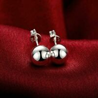 925 Sterling Silver Filled Classic Solid 10MM Ball Bead Stud Earrings Womens