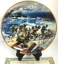 Storming The Beaches Of Normandy Porcelain Plate #F5664 Franklin Mint Heirloom