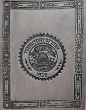 Territory of Utah State Seal Antique c1910 Tooled Gray Leather Tobacco Premium