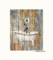 Farmhouse Bathroom Laundry Room Wall Art, Daisy Flower Vintage Bathtub Artwork