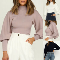 Womens Ladies Round Neck Long Sleeve Solid Color Loose Pullover Sweater Tops