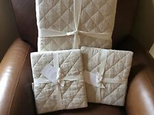 POTTERY BARN Belgian Flax Linen Diamond KING Quilt & 2 KING Shams NEW - Natural