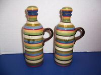 """Tabletops Gallery Los Colores Oil & Vinegar Cruets (6"""") Hand Crafted w/ Stoppers"""