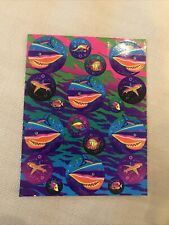 Vintage Lisa Frank Great White Sharks Fish Sticker Sheet S218